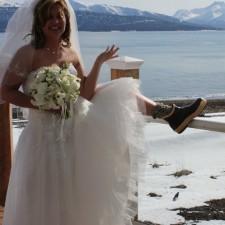 Beautiful Alaskan Bride Wearing Xtratuf Boots